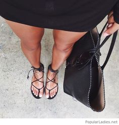Black lace-up sandals design