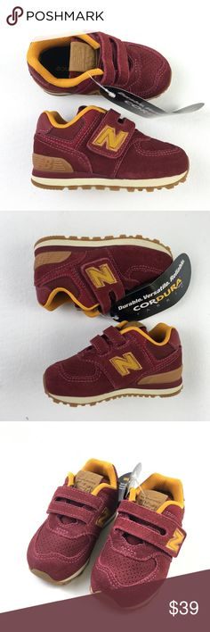 size 40 42866 19625 New Balance Youth 574 Classic Sneakers DR02606 New Balance Youth Red Maroon  Suede Velcro 574 Classic