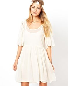 Image 1 of ASOS Smock Dress With Frill Sleeves