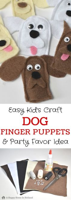 Dog Finger Puppets: Easy Party Favor Idea for Birthdays - - Easy tutorial showing how to make cute finger puppet puppies to make with the kids or to use as party favors – includes free printable! Felt Puppets, Puppets For Kids, Felt Finger Puppets, Puppy Crafts, Dog Themed Parties, Birthday Parties, Finger Puppet Patterns, Marionette, Puppet Making