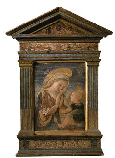 An Italian gilt and painted stucco relief of the Madonna and Child, after the style of Desiderio da Settignano (circa 1430-1464) || Sotheby's