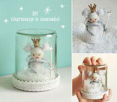 Leuk om te maken samen met de kids! Een sneeuwbol met ijsprinsesje. DIY door Hip Handwerk.