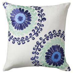 Boho Boutique™ Haze Embroidered Decorative Pillow - Blue decorative pillow for couch