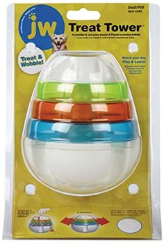 JW Pet Company 43505 Treat Tower Toys for Pets, Small, White/Rings of Blue, Orange, Green JW Pet