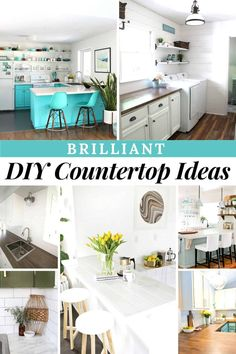13 Brilliant DIY Countertop Ideas with Instructions - Joyful Derivatives Live Edge Countertop, Corian Countertops, Butcher Block Countertops, Old Cabinets, Built In Cabinets, Office Cabinets, Kitchen Reno, Kitchen Ideas, Easy Woodworking Projects