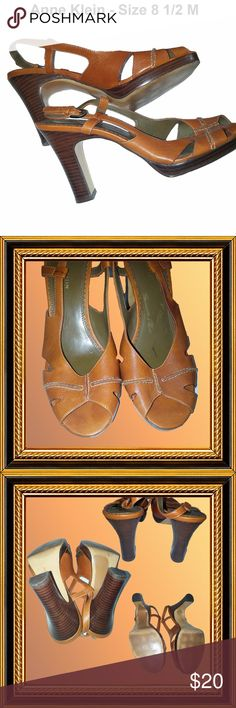 "ANNE KLEIN - Brown Sandals - Size 8 1/2 M CONDITION - EXCELLENT  4"" Heel Open toe Sling-back Anne Klein Shoes Sandals"