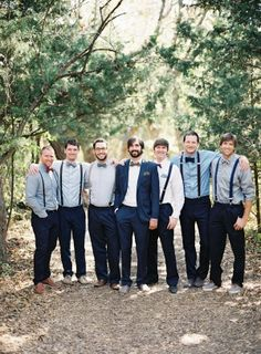 Like this a lot. Same pants on all groomsmen. Slightly different shirts and bow ties/ties. Brown shoes
