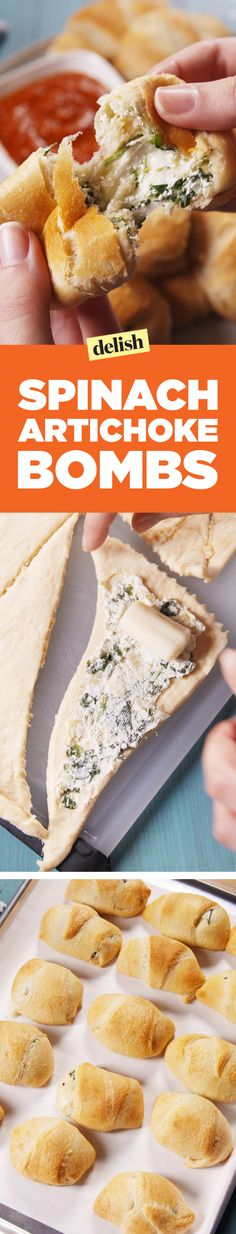 These Spinach Artichoke Bombs will be your new favorite thing to do with crescent rolls. Get the recipe on Delish.com.