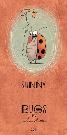 Ladybug by Susan Batori Cute Animal Illustration, Graphic Illustration, Cartoon Faces Expressions, Bee Sketch, Bugs Drawing, Envelope Art, Bee Art, Kids Poster, Cute Monsters