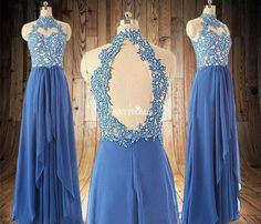 Stunning open back sleeveless beading sky blue chiffon prom party dresses