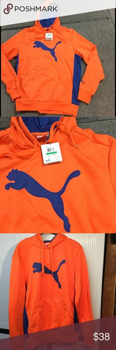 "Men's Puma orange & blue Hooded Sweatshirt Men's Puma ""Big Cat Poly Hoddy"" in orange with blue logo, trim, side panels and hood. Thermal insulation from the Puma Cell Performance System. Size large. Puma Shirts Sweatshirts & Hoodies"