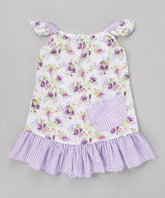 Lavender Gingham Daisy Angel-Sleeve Dress - Toddler & Girls #zulily #zulilyfinds