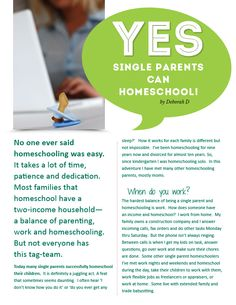 YES!!  Single Parents Can Homeschool!!! http://www.homeschool.com/magazine/volume01/GettingStarted/