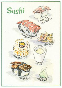 I'm not big on sushi but I think I tried all of these in Japan. Lovely watercolours. Sushi Watercolor Art card by >WonderMike<, via Flickr