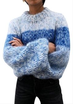 Long Sweaters, Blue Sweaters, Sweaters For Women, Hand Knitted Sweaters, Pullover Outfit, Into The Fire, Big Knits, Mohair Sweater, Sweater Cardigan