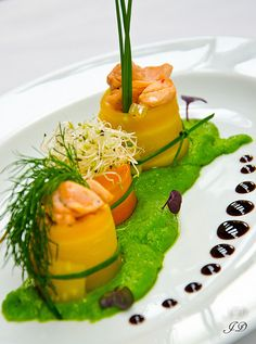 Salmon Ragout in Carrot Jacket on Creamed Peas