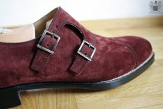 Genuine Suede Leather Monk Plain Cap Toe Double Buckle Strap Maroon Shoes 4 Men - Dress/Formal