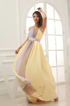 Handmade unique pleat sweetheart yellow floor length long Prom/Evening/Party/Bridesmaid/Cocktail/Homecoming Dress