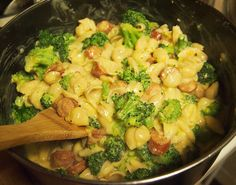 Broccoli Mac and Cheese with Kielbasa