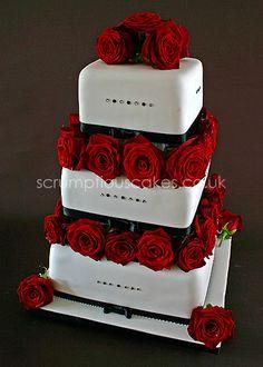 Black & Red Wedding Cake - Black & Red Wedding Cake with Fresh Flowers - PJ x
