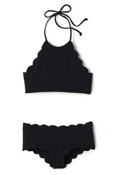Marysia's Antibes Scallop High Neck Halter Top | Everything But Water