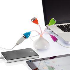 HUB con 4 porte USB colorate a forma di fiore di LOOOQS