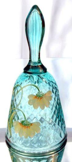 Fenton Art Glass Handpainted Robins Egg Blue Bell Diamond Pattern