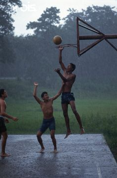 find a basketball court near you and have a game - this pic goes to show that even in the rain you can still have fun!!!