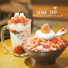 My favourite Strawberry daifuku and cheese cake topped Bingsu   จะหนาวแคไหนกจะกน คคค สตอเบอรรชางดงามม #songsweetsong by songsweetsong