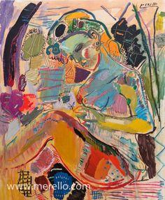 """15º  Arte actual.  Merello """"Mujer azul con flor."""" 100 x 81 cm. Se caracteriza por buscar estímulos nuevos, los temas son muy variados, solapándose varias tendencias."""