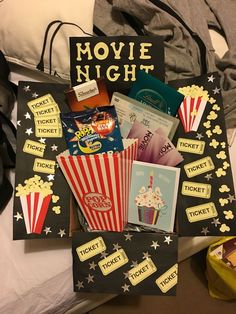night in a box. Sisters birthday present. Movie night in a box. Sisters birthday present. Movie night in a box. Sisters birthday present. Movie night in a box. Sisters birthday present. Diy Birthday Gifts For Sister, Birthday Present For Boyfriend, Christmas Gifts For Sister, Presents For Boyfriend, Birthday Box, Movie Basket Gift, Movie Night Gift Basket, Kino Box, Themed Gift Baskets