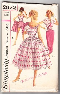 Vintage 1957 Simplicity 2072 Sewing Pattern Misses' Blouse, Shorts and Two Skirts, Jacket and Cummerbund Size 14 Bust 34