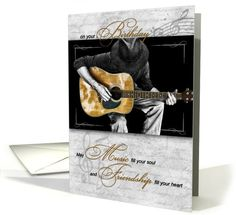Music / Instruments card: Happy Birthday Music Lover - Classic Guitarist Greeting Card by Doreen Erhardt