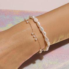 Pearly Charm Bracelet – STONE AND STRAND Ankle Bracelets, Beaded Bracelets, Handmade Pearl Jewelry, Jewelry Accessories, Fashion Accessories, Expensive Jewelry, Layered Jewelry, Gold Plated Bracelets, Fine Jewelry