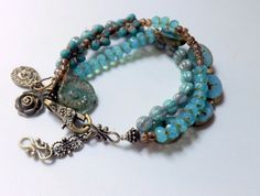 Turquoise Beaded Bracelet Czech glass Swallows and by lyrisgems