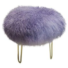 Image of Genuine Mongolian Lamb Fur Stool Lavender