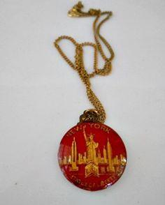 Vintage handmade I love New York pendent Necklace by houuseofwren