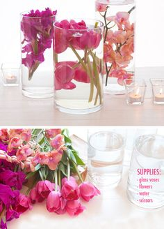 Submerged Flower Centerpiece | Click Pic for 26 DIY Wedding Centerpieces on a Budget | DIY Wedding Decorations for Outside