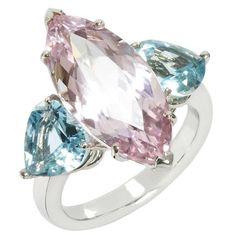 Kunzite and Aquamarine Trio Ring