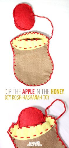 DIY felt rosh hashanah toy based on the tradition of dipping the apple in the honey on the Jewish High Holidays! Make this DIY fine motor toy for toddlers in honor of the Jewish new year. Craft Activities For Kids, Crafts For Kids, Children Crafts, Preschool Ideas, Diy Toys Doll, Toy Diy, Diy Handmade Toys, Jewish High Holidays, Jewish Crafts