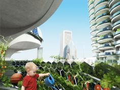 vertical farming on balcony. 'algae green loop' by influx_studio. a design proposal for an algae retrofitting of the marina city towers in chicago, illinois, USA.  utilizing the natural CO2 absorbing capabilities of the live material, the project explores ways  of urban decarbonization by integrating loops of bioreactors on to the 20th-century towers.