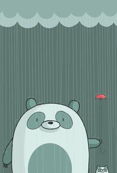 Pandas in the Rain Art Print