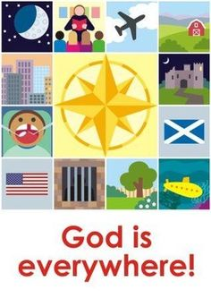 """Where is God? Is he in church? In your bedroom? Under the sea? At school? In space?This game shows that God is everywhere!Players move about a grid, turning over cards. The player who turns over the """"God is everywhere!"""" card is the winner.For two or more players.Age 4-11  can be played with different levels of complexity.Takes about 5 minutes, but can be played over and over."""