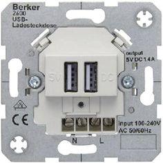 Conrad.ch - Berker Einsatz USB-Steckdose B.7, B.3, B.1, Modul 2, Q.1, K.5, K.1, ARSYS Polarweiß 2600 09