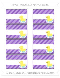 Free Amethyst Diagonal Striped Baby Duck Name Tags