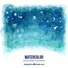 Watercolor background in blue tones I Free Vector