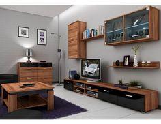 Obývací stěna Magic švestka-černý lesk Variabilní obývací stěna, která splňuje vysoké nároky na moderní bydlení. Stěna je vyrobena z kvalitního 16 mm LTD v dezénu švestka/ černý lesk. Prosklená skříňka je dodávána bez osvětlení (lze … Bookcase, Flat Screen, Shelves, Furniture, Home Decor, Products, Blood Plasma, Shelving, Decoration Home