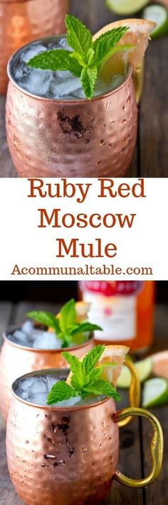A delicious riff on the classic mule, this Ruby Red Moscow Mule cocktail uses Deep Eddy Ruby Red Vodka, lime and ginger. Sweet, tart and refreshing! #drinkrecipe #cocktailrecipes