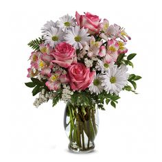 Lovely pink and white flowers are always such a treat! Pink roses and alstroemeria are beautifully mixed with white daisy spray mums and statice for a bouquet sure to delight. TEV12-2