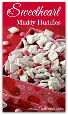 Sweetheart Muddy Buddies Recipe | Bakerette.com More